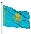 Flag Of Kazakhstan With Flagpole Waving In The Wind