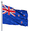 Flag Of New Zealand With Flagpole Waving In The Wind stock image