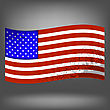 Flag Of USA Isolated On Grey Background