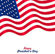 Flag USA Waving Wind For Happy Presidents Day, Patriotic Symbolic Vintage Decoration For Holiday Or Celebration Backgrounds - Vector