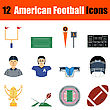 Flat Design American Football Icon Set In Ui Colors. Vector Illustration