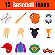 Flat Design Baseball Icon Set In Ui Colors. Vector Illustration