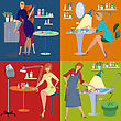 Flatdesign Flat Design. Beauty Salon Spa.Beauty Salon Spa Employees Flat People stock illustration
