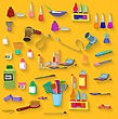 Flat Design. Beauty Salon Spa.Beauty Spa Objects Set Flat Design stock illustration