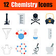 Flat Design Chemistry Icon Set In Ui Colors. Vector Illustration
