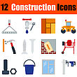 Flat Design Construction Icon Set In Ui Colors. Vector Illustration