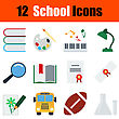 Flat Design Education Icon Set In Ui Colors. Vector Illustration