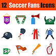 Flat Design Football Fans Icon Set In Ui Colors. Vector Illustration