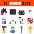 Flat Design Football Icon Set In Ui Colors. Vector Illustration