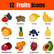 Flat Design Fruit Icon Set With Titles In Ui Colors. Vector Illustration