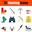 Flat Design Hunting Icon Set In Ui Colors. Vector Illustration