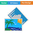 Flat Design Icon Of Two Travel Photograph In Ui Colors. Vector Illustration