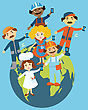Flat Design Illustration Of Cartoon People Standing On The Globe Holding Mobile Phones In Their Hands. Cartoon People Representing Different Occupations And Ethnic Gropes. Info Graphic Elements