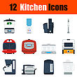 Flat Design Kitchen Icon Set In Ui Colors. Vector Illustration