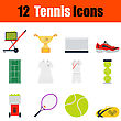 Flat Design Tennis Icon Set In Ui Colors. Vector Illustration