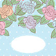 Floral Background For Card, Invitation, Paper. Multicolored Pastel Roses On Blue Polka Dot Background