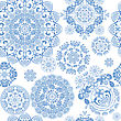 Floral Design Blue, Seamless Background stock vector