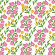 Floral Seamless Pattern With Pink And Yellow Flowers