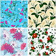 Floral Seamless Pattern Set. Elegant Design With Beautiful Flowers, Butterflies And Birds On Color Background. Floral And Swirl Elements. Ideal For Textile Print And Wallpapers. Vector Illustration