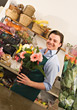 Florist with Fresh Flowers stock photo