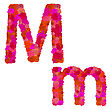 Flower Alphabet Of Red Roses, Characters M-m