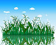 Flower With Grass On Water Surface With Reflection. EPS 10 Vector Illustration With Transparency stock illustration