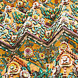Flower Mosaic On The Buddhist Stupa In Wat Pho Temple, Bangkok, Thailand stock photography