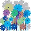 Flower Retro Card In Various Colors