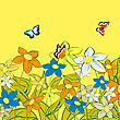 Flowers And Butterflies, Background Sketch