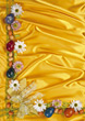 Flowers On Yellow Silk Background stock photo