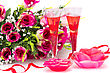 Flowers, Red Ribbon, Two Glasses, Candles Isolated On White Background