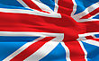 Fluttering Flag Of United Kingdom On The Wind
