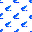 Fly Dove Seamless Pattern. Blue Bird Background stock vector