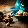 Food Background With Anise Star Close Up With Traditional Turkish Glasses On Wooden Background. Selective Focus, Shallow DOF. Scrathed Texture Added To Image stock photography