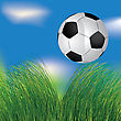 Football Ball In The Grass On The Blue Sky Background