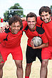 Smiling Football Team stock image