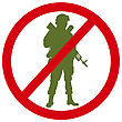 Forbidden Sign With Soldier Silhouette. Anti-war Concept. EPS 8 stock vector