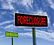 Foreclosure And Loan Modification Road Signs Over Blue Sky, Housing Problem Concept stock image