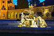 Fountain At The Schonbrunn Palace In Vienna In The Evening