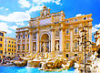 Geyser Fountain Di Trevi - Most Famous Rome's Fountains In The World. Italy stock photo