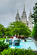 Fountain In Front Of The Mormons' Temple In Salt Lake City, UT In The Evening stock image
