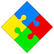 Four Colored Puzzle Together. Vector Illustration