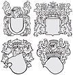 Four Medieval Coats Of Arms, Executed In Woodcut Style, Isolated On White Background. No Blends, Gradients And Strokes