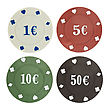 Four Poker Chips stock photography