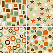 Four Retro Abstract Vector Seamless Patterns, Can Be Used As Pattern, Backgrounds, Christmas Wrapping Paper