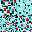 Four Retro Abstract Vector Seamless Patterns, Christmas Wrapping Paper
