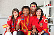 Four Spanish Sports Fans stock photography