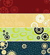 Four Web Banners Or Backgrounds With Stylized Gears. Highly Detailed In Various Colors