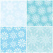 Four Winter Seamless Vector Backgrounds With Diferent Snowflakes