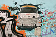 Fragment Of Berlin Wall - Car Breaking Through To The Freedom stock image